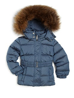 Add Down - Toddler's & Little Girl's Fur-Trimmed Belted Down Jacket