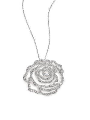 Pavé Crystal Rosette Pendant Necklace