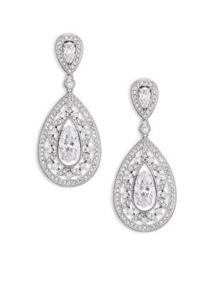 Pavé Crystal Small Pear Drop Earrings/Silvertone
