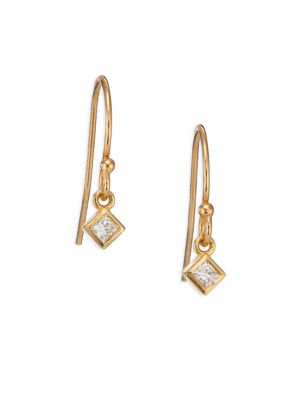 Diamond & 14K Yellow Gold Princess Drop Earrings