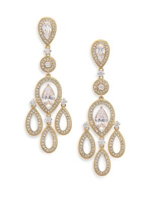 Pavé Pear Chandelier Earrings/Goldtone