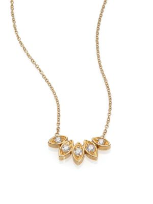 Diamond & 14K Yellow Gold Five-Marquis Necklace