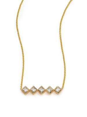 Diamond & 14K Yellow Gold Princess Necklace