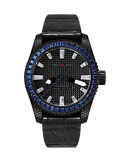 RED8USA Scandal Automatic Crystal, Black PVD & Alligator-Embossed Rubber Strap Watch/Blue
