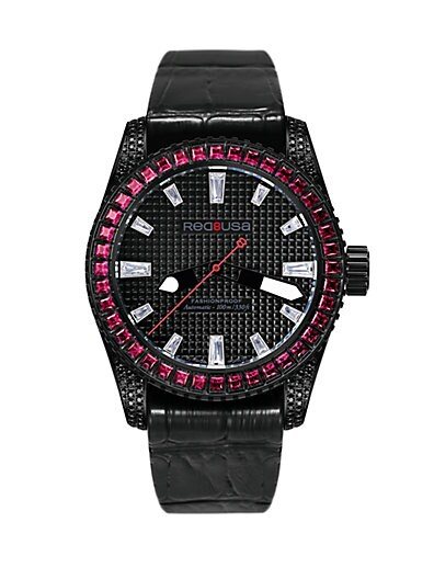 RED8USA Scandal Automatic Crystal, Black PVD & Alligator-Embossed Rubber Strap Watch/Red