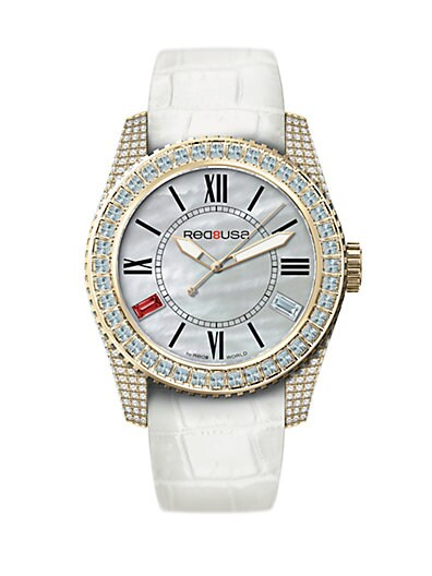 RED8USA Scandal Automatic Crystal, Mother-Of-Pearl, Goldtone PVD & Alligator-Embossed Rubber Interchange