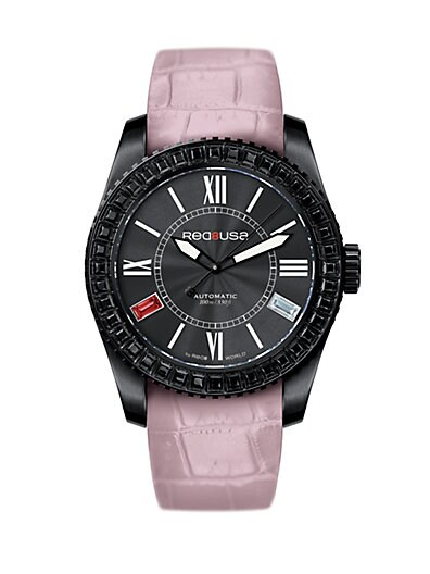 RED8USA Scandal Automatic Crystal, Black PVD & Alligator-Embossed Rubber Interchangeable Strap Watch/Dus