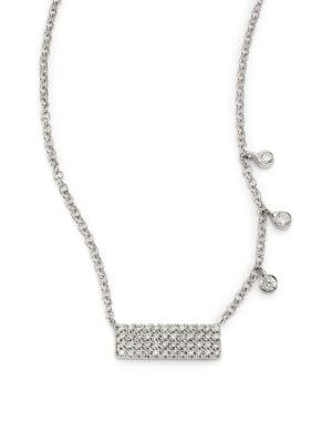 Diamond & 14K White Gold Bar Pendant Necklace