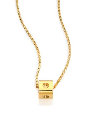 Pois Moi 18K Yellow Gold Mini Cube Pendant Necklace