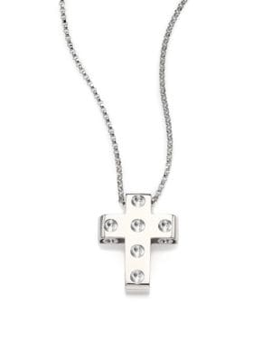 Pois Moi 18K White Gold Cross Pendant Necklace