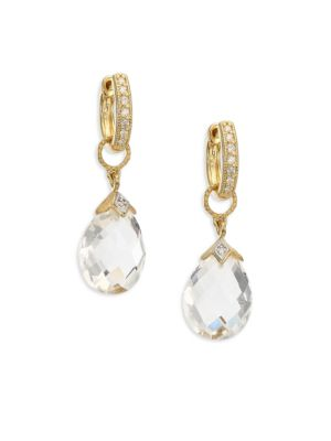 Lisse White Topaz & 18K Yellow Gold Pear Briolette Earring Charms