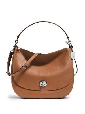Pebbled Leather Turnlock Hobo Bag