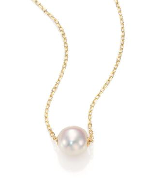 8MM White Cultured Akoya Pearl & 18K Yellow Gold Pendant Necklace