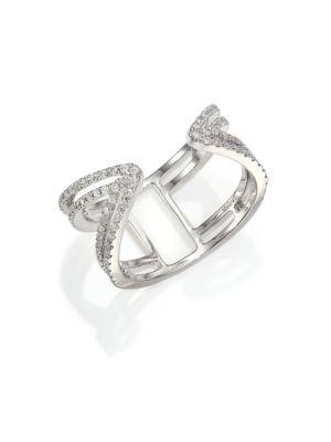 Diamond & 14k White Gold Peaked Open Ring