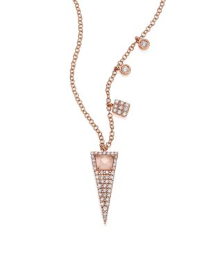MEIRA T Rose Quartz, Mother-Of-Pearl, Diamond & 14K Rose Gold Triangle Pendant Necklace