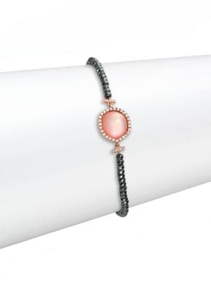 Rose Quartz, Mother-Of-Pearl, Silverite, Diamond & 14K Rose Gold Beaded Bracelet