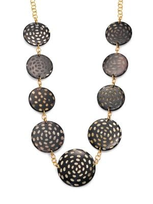 Spotted Horn Disc Station Necklace