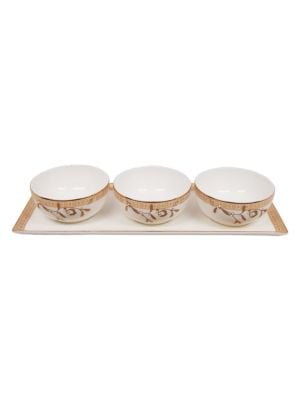 Golden Leaves Nut Bowl And Tray Set