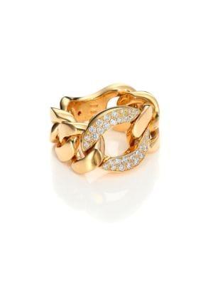 Gourmette Diamond & 18K Yellow Gold Chain Ring