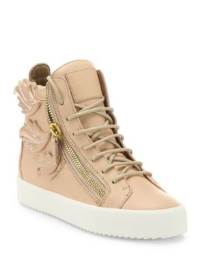 Winged Leather Side-Zip Hi-Top Sneakers