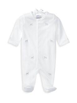 폴로 랄프로렌 남아용 아기 커버올 우주복 Polo Ralph Lauren Baby Boys Rocking Horse Pima Cotton Coverall,White