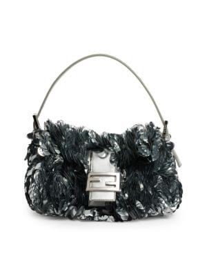Baguette Paillette-Embellished Leather Shoulder Bag