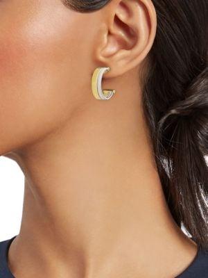 Marco Bicego Goa 18k Yellow Gold White Hoop Earrings 0 5