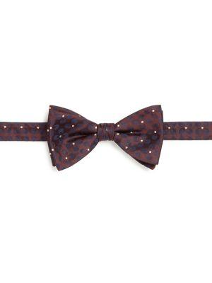 Pindot Floral Pre-Tied Bow Tie
