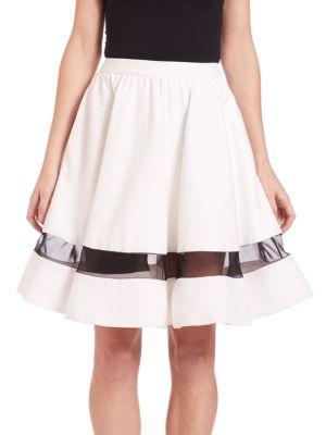 Lotus Flared Silk-Panel Skirt plus size,  plus size fashion plus size appare