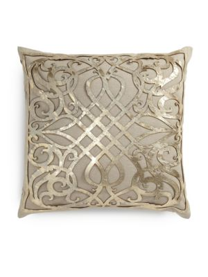 Charlotte Laser-Cut Leather Overlay Linen Pillow