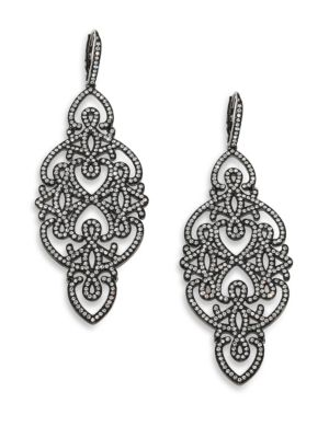 Statement Pavé Crystal Gate Drop Earrings/Gunmetal-Tone