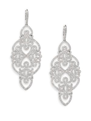 Statement Pavé Crystal Gate Drop Earrings/Silvertone