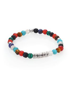 Carnelian & Silver Discs Round Beads Bracelet
