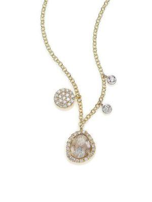 Diamond, Labradorite, 14K Yellow Gold & 14K White Gold Charm Necklace