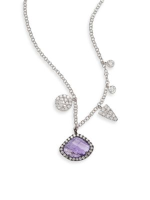 Diamond, Tanzanite & 14K White Gold Charm Necklace