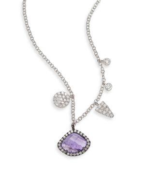 Diamond, Tanzanite & 14K White Gold Charm Necklace
