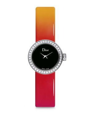 La Mini D de Dior Diamond, Stainless Steel & Gradient Patent Leather Strap Watch