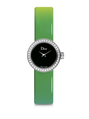 La Mini D de Dior Diamond, Stainless Steel & Gradient Patent Leather Strap Watch