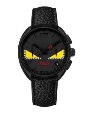 Momento Fendi Bug Chronograph Diamond, Black PVD Stainless Steel & Leather Strap Watch
