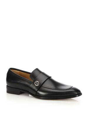 gucci male broadwick leather loafers