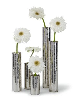 Hammered Bud Vases/Set Of 5