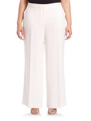Finesse Crepe Kenmare Wide-Leg Pants plus size,  plus size fashion plus size appare