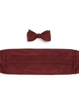 Two-Piece Silk Bow Tie & Cummerbund Set