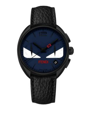 Momento Fendi Bug Chronograph Black PVD Stainless Steel & Leather Strap Watch