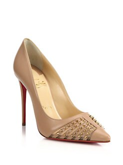 Christian Louboutin - Spiked Leather & Mesh Pumps