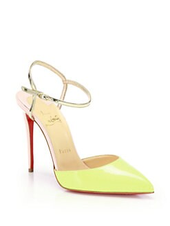 Christian Louboutin - Colorblock Patent Leather Ankle-Strap Pumps