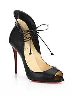 Christian Louboutin - Leather Peep-Toe Lace-Up Sandals