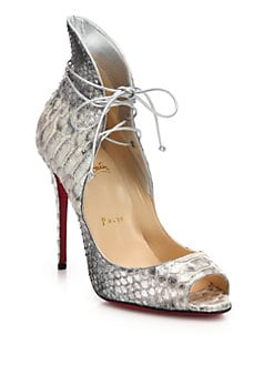 Christian Louboutin - Python-Embossed Leather Lace-Up Peep-Toe Pumps
