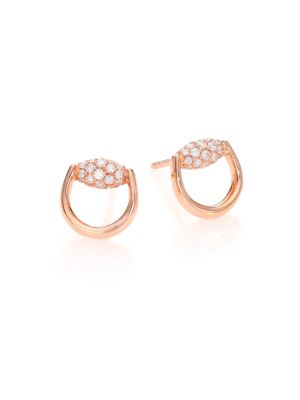 Horsebit Diamond & 18K Rose Gold Stud Earrings