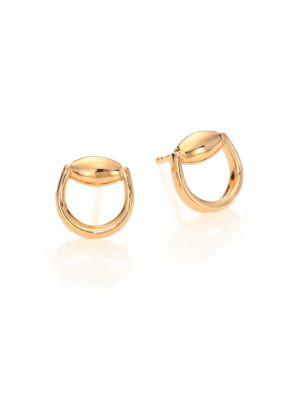 Horsebit 18K Yellow Gold Stud Earrings
